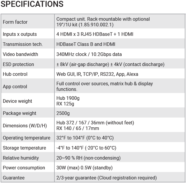 MHUB4K431U Specifications