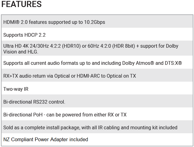 XTND4K40 ARC Features